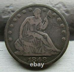 1848 RPD Seated Liberty 50c Very Tough DateRARE Low Mintage ORIGINAL Fine/VF