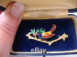 18k 750 Solid Yellow Gold Enameled Bird On A Branch In Original Box! Rare
