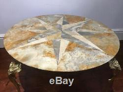 1 Fine Rare Antique Style French Brass Ormolu Marble Onyx Starburst Coffee Table