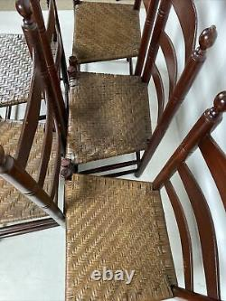 A Very Fine And Rare Set Of 6 Ladder Back Side Chairs With Old Red Paint ca 1800