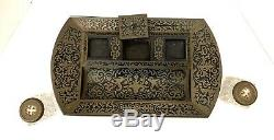 A Very Fine & Rare 19th Century French Original Boulle Brass Inlay Inkwell
