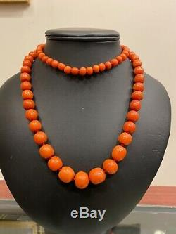 An Antique Fine & Rare Natural Mediterranean Deep Salmon Red Coral Necklace