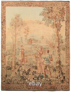 Antique Flemish Tapestry Fine Wool & Silk Oversize Tapestry Handwoven Rare 7x9