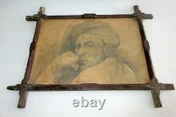 Antique Old Rare Artist Fine Tribal Old Man With Turban Pencil Sketch Painting