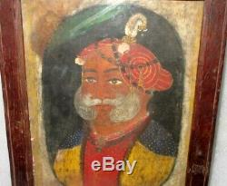 Antique Old Rare Hand Painted Indian Mughal King Miniature Fine Oil Painting