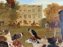 Antique Very Rare Fine Large Horse/hunting Dogs Oil Painting Meeting For Hunt