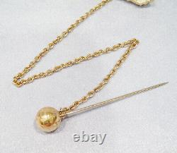 Antique Victorian Gold Filled Engraved Bar Pin RARE Original Safety Chain Pin