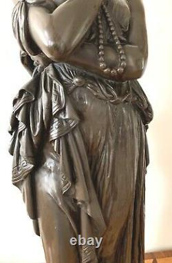 Auguste Clesinger 19 Century Fine & Rare French 27''H Bronze Statue Of Helena