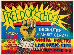 COLAB Poster Freedom School, 1985. Rare, Limited Edition, Fine Art Poster