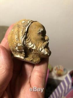 Early Medieval Antique Finely Detailed STUCCO Sculpture Male Head RARE Carved