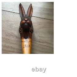 Extremely rare and fine antique softwood carved novelty Nutcracker hare C. 1923