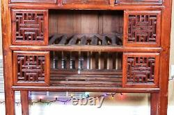 Fine Extremely Rare Antique Chinese Rosewood Display Cabinet Qing Dynasty