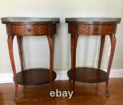 Fine Pair of Antique FRENCH Inlaid Tables with Rare Woods & Gilt Bronze Ormolu