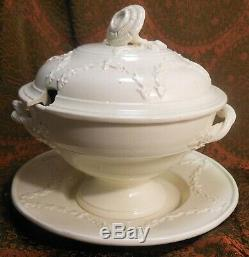 Fine & Rare 18th Cen. English Creamware Tureen With Underplate, Twined Handles