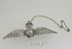 Fine & Rare RAF Sweetheart Brooch in 18K Gold, set with 0.80ct Rose Cut Diamonds