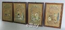 Fine & Rare Set of Four 17th C. GERMAN ETCHINGS with Textiles c. 1675 antique