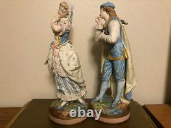 French Bisque Man & Woman Beautiful Antique Figurines 1800s Large 17 Fine&Rare
