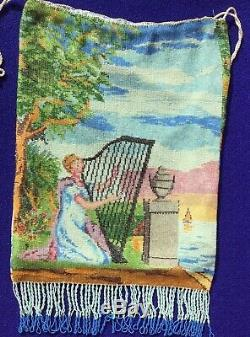Gorgeous Fine Beaded Purse Figural Lady With Harp Scenic Rare Masterpiece