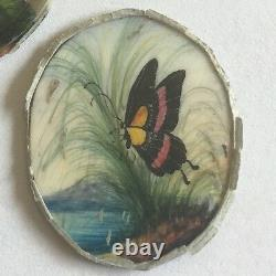 Lovely Antique Set Of 3 Indian Miniature Butterfly Painting's Fine Detail Rare