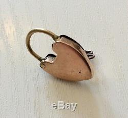 Lovely Very Rare Victorian 9CT Rose Gold Padlock with Original Key
