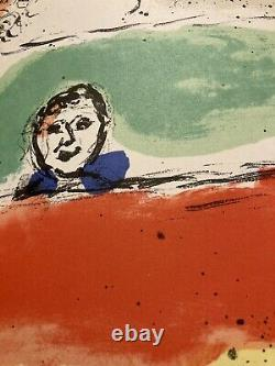 MARC CHAGALL with double page color lithograph fine condition 1975 Art Maeght rare