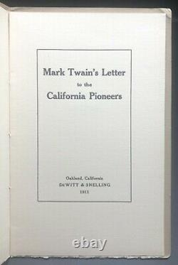 Mark Twain's Letter to the California Pioneers Rare First 1st/1st Edition FINE