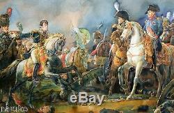 Napoleon & Wellington At Waterloo Watercolor Fine Drawing Rare Frame Unsigned