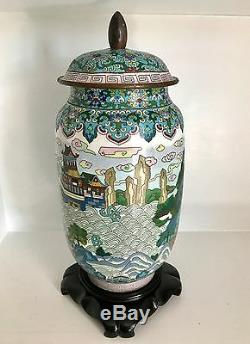 Old RARE 16 Chinese Cloisonne Jar Lid Mystical Mountains Palace Fine Stand
