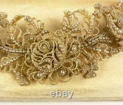 RARE 6.5 Long Georgian Seed Pearl Tremblant Brooch, Bodicer, Hair Ornament