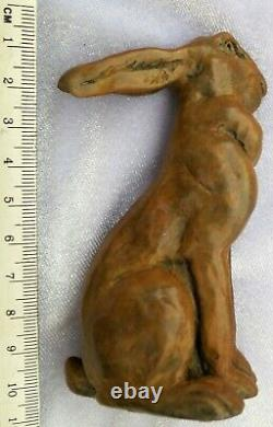 RARE Bronze Brass HARE Finely Cast Antique Painted Paperweight Car Mascot