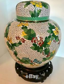 RARE Large 10+ Qing Republic Chinese Cloisonne Ginger Jar CHINA Fine Stand