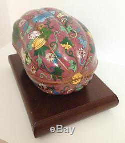 RARE Large 2.95 Pounds Fine Republic Chinese Melon Gourd Cloisonne Box Stand