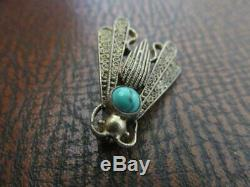 RARE Theodore ORIGINAL FAHRNER STERLING Vermeil Fly PIN wTurquoise Stone 1890's