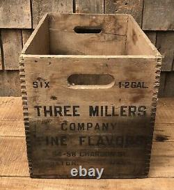 RARE Vintage THREE MILLERS Fine Flavors Soda Boston MA Wooden Crate Dovetailed