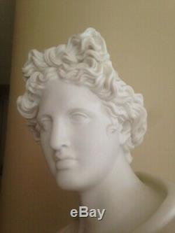 RARE, very fine PARIAN BUST OF APOLLO BELVEDERE Sevres 17 inches TALL porcelain