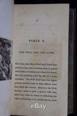 Rare 1793 The Fables Of Aesop Illustrated Fine Leather Binding Large 10x7