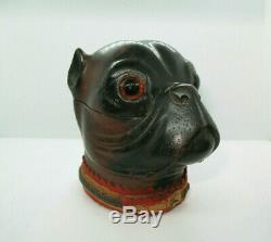 Rare Antique Black Forest Finely Hand Carved Pug Dog Ink Well with Glass Eyes