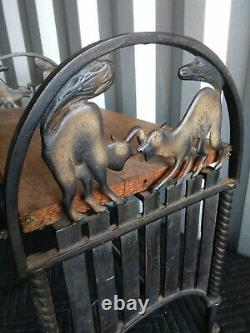 Rare Antique Cast Iron Bench Cat on fence in Original Paint fine condition
