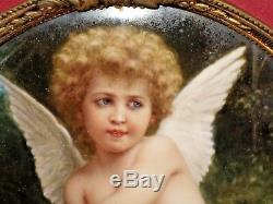 Rare Antique KPM Porcelain Extremely Fine Painted Oval Plaque Cupid Signed