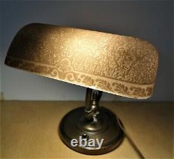 Rare Emeralite Desk Lamp No. 7, Signed, Etched Amber Shade, Fine Condition