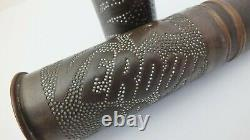 Rare, Pair of Finely Decorated WWI Trench Art Artillery Shells, Verdun 1918