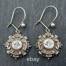 Rare Victoria Sterling Silver Aesthetic Movement Drop Earrings Original Wires