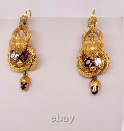 Rare Victorian Pin Pendant & Earrings Set 14k with Glass Doublets, Original box