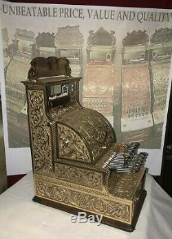 STUNNING VERY RARE Old Mdl #12 Fine Scroll Nat'l Brass Candy Store Cash Register