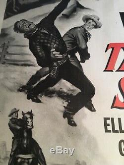 TALL IN THE SADDLE MOVIE POSTER JOHN WAYNE R53 V. FINE RKO Re-release 1954 RARE