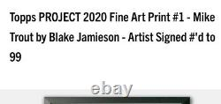 Topps PROJECT 2020 Fine Art Print #1 Mike Trout Rare Silver Frame #8/20
