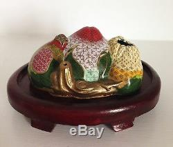 Very Fine & RARE Old Chinese Three Abundances Cloisonne Brush Washer Stand