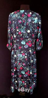 Very Rare Collectible Vintage 1940's-1950's Blue Floral Fine Silk Dress Size 16+