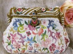 Vintage French Micro Fine Embroidery, Glass Beaded withEnamel Hd Made Purse RARE