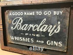 Vtg Antique RARE 1930s Barclay's Fine Whiskies and Gins Whiskey Art Deco Sign